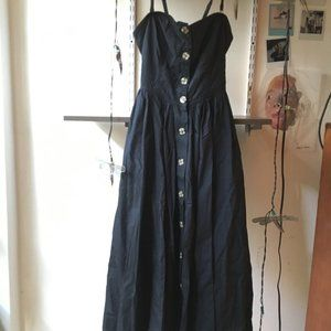 Free People Black midi button front Dress XS
